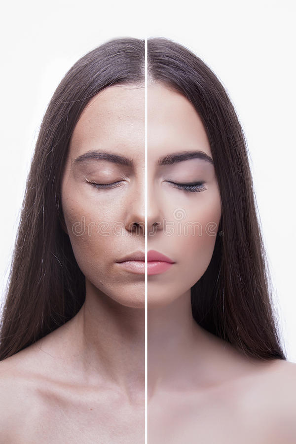 Woman before and after make-up stock photo