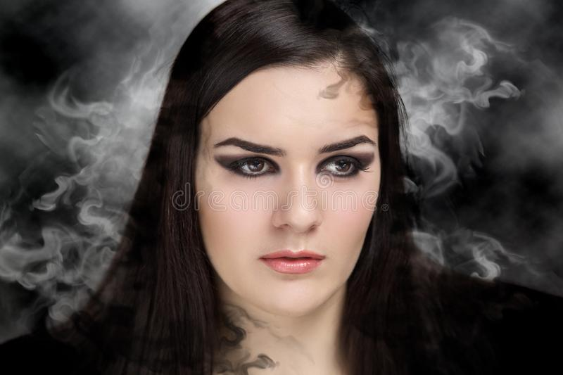 Woman make up smoky eyes stock photo