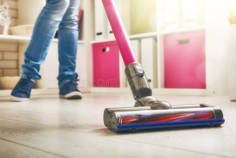 Woman makes cleaning stock images