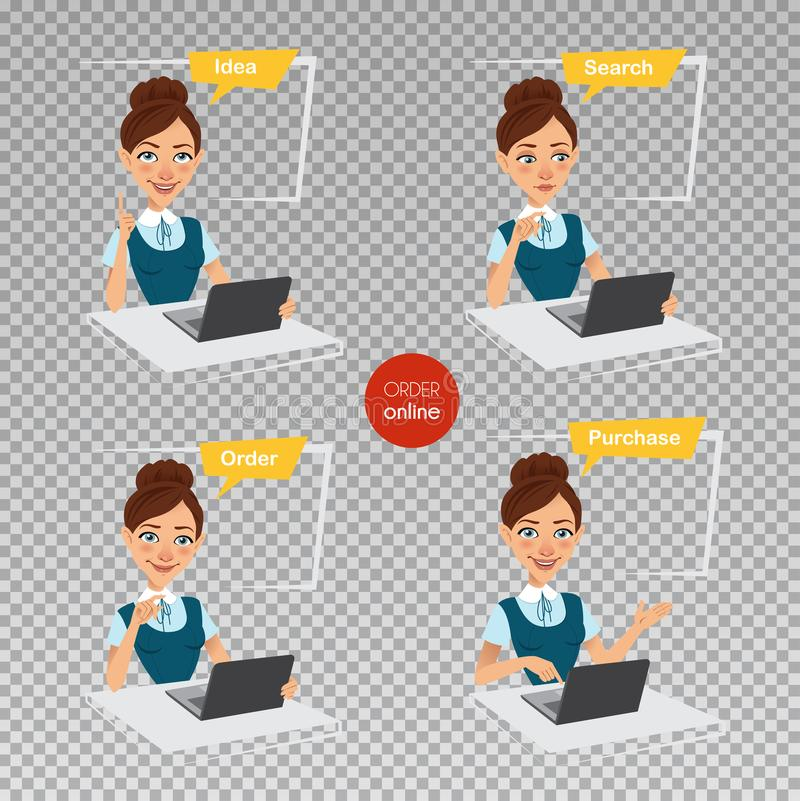 Woman makes order online. Four stages of process. Woman sitting at table, working at laptop. Online shopping. Woman makes order online. Idea, search, ordering royalty free illustration