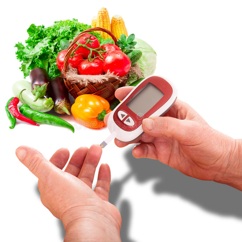 Woman makes testing high blood sugar. Woman makes measurement Testing high blood sugar. Diabetes concept glucometer for glucose level blood test in hand and royalty free stock photo