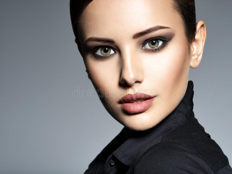 Woman makeup beautiful portrait face hairstyle fashion short royalty free stock photos