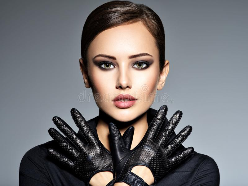 Woman makeup face fashion beautiful portrait  hairstyle slicked royalty free stock image