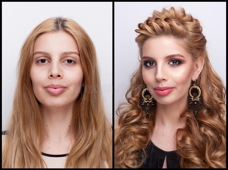 Woman Before and after makeup and hairstyle stock photos