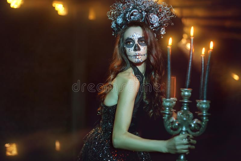 Woman with makeup for Halloween. royalty free stock photo