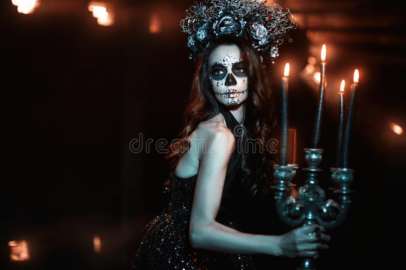 Woman with makeup for Halloween royalty free stock photos
