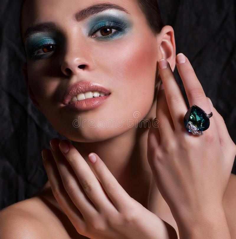 Woman With Makeup In Luxury Jewelry Stock Photos