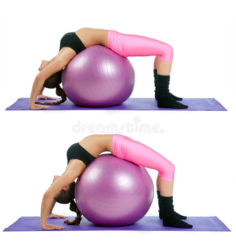 Woman making bridge exercise royalty free stock photo