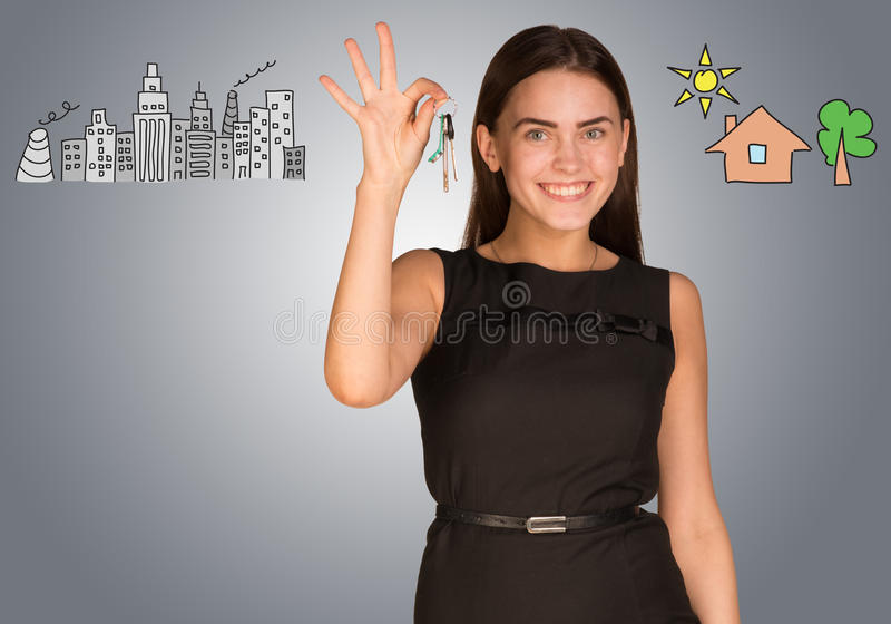 Download Woman Making Choice Between City And Country Stock Illustration - Illustration of drawing, background: 50736170