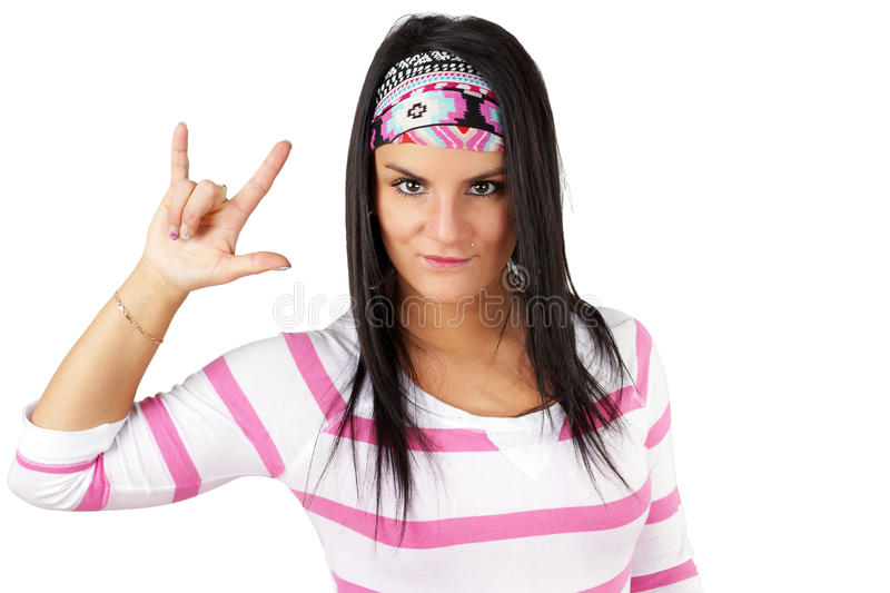 Download Woman Making Devils Hand Gesture Stock Photo - Image: 38234774