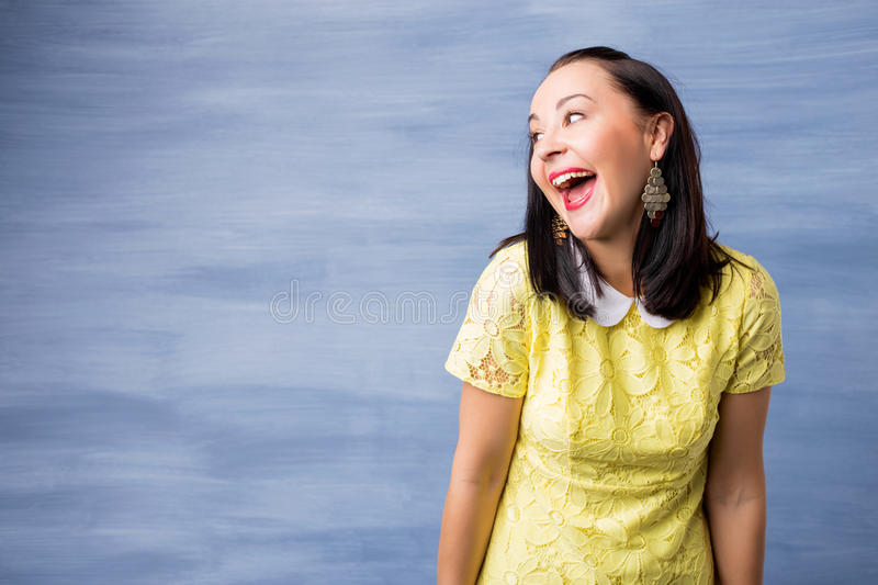 Woman making funny expression stock photo