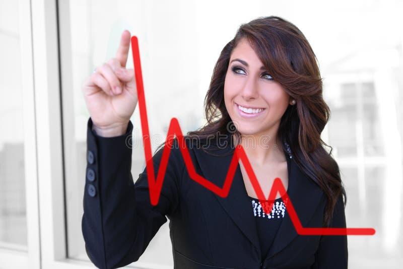 Woman Making Graph Chart stock photos