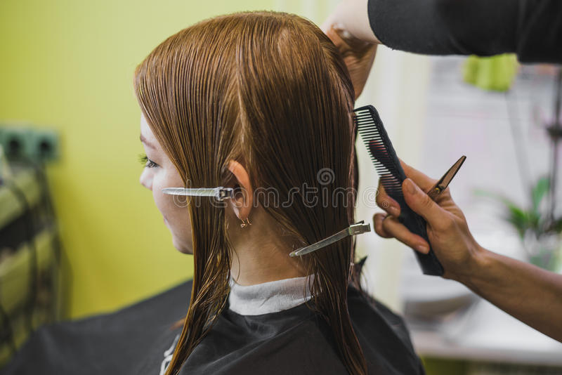 Woman is making hair cut in salon royalty free stock photography