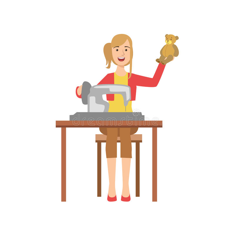 Woman Making Handmade Toys, Creative Person Illustration vector illustration