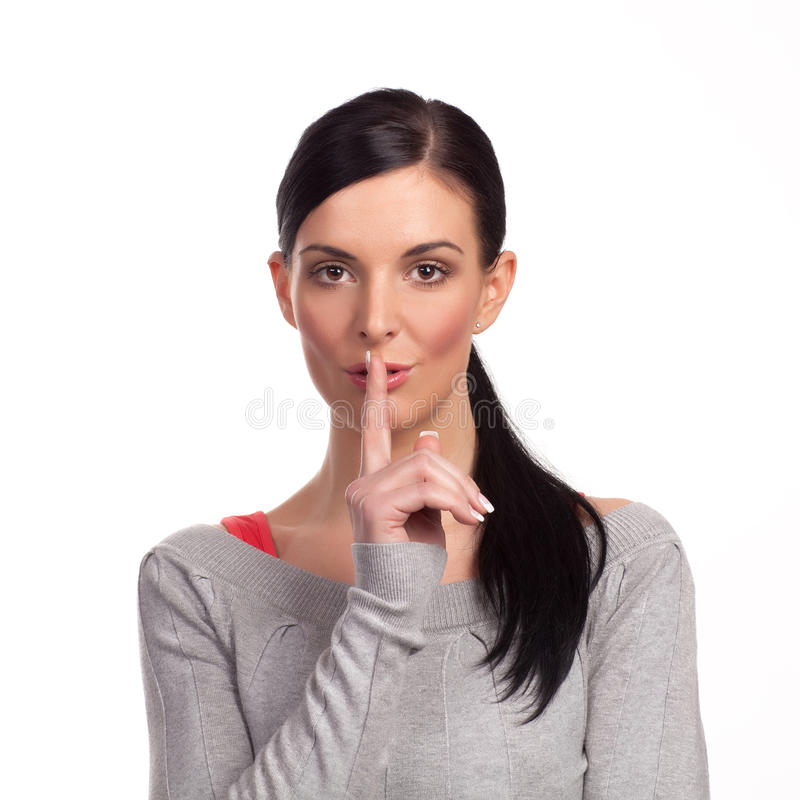 Download Woman Making A Keep It Quiet - Isolated Stock Photo - Image: 15533408