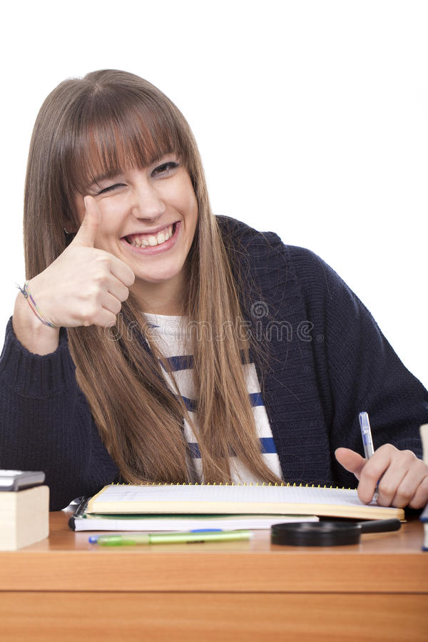 Woman making ok sign stock image