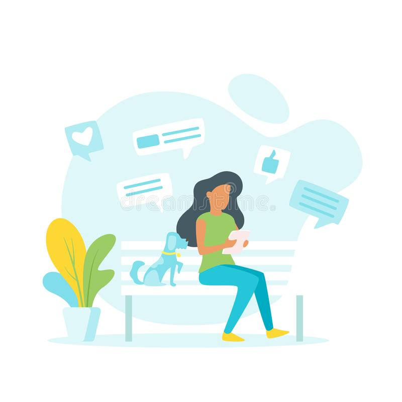 Woman making online shopping. Vector illustration of a woman making online shopping and sitting outdoor on the bench. Chat windows with like sign around vector illustration