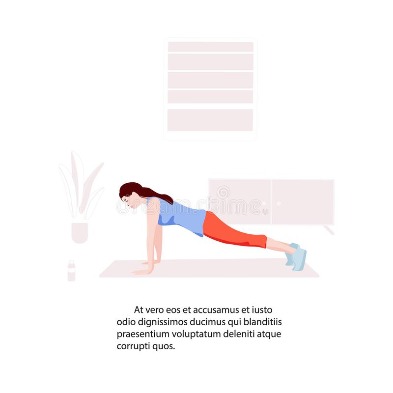 Woman making plank at home flat illustration. Active sport training practice. Girl fitness activity. Complex core care stock illustration