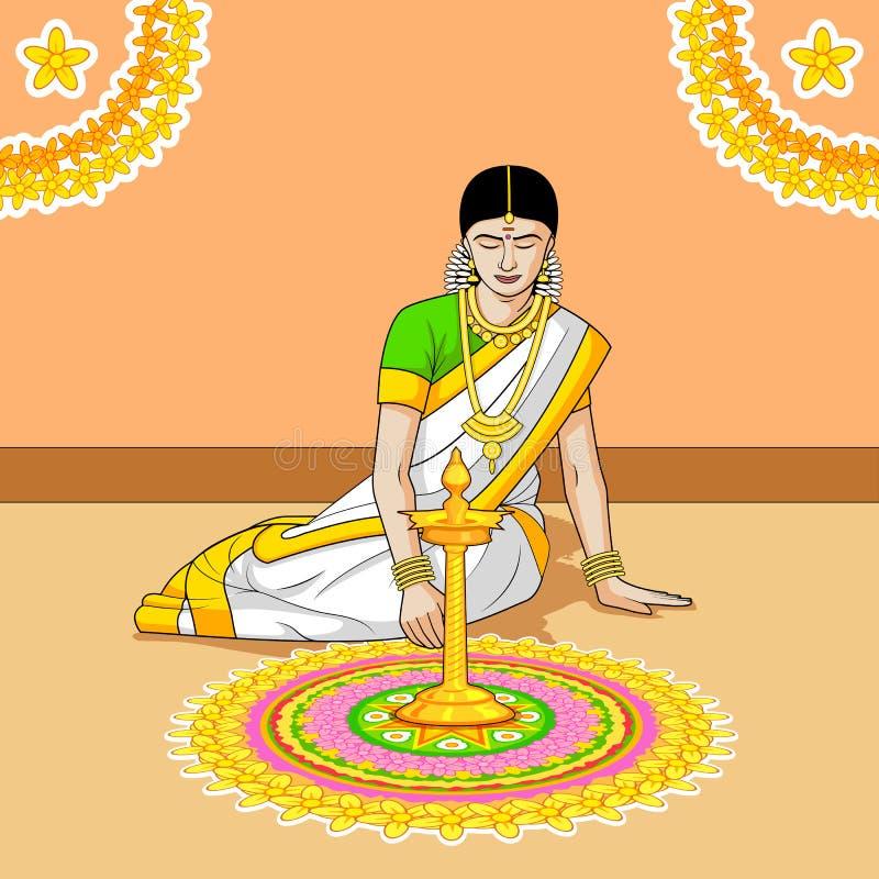 Woman making rangoli for Indian festival vector illustration