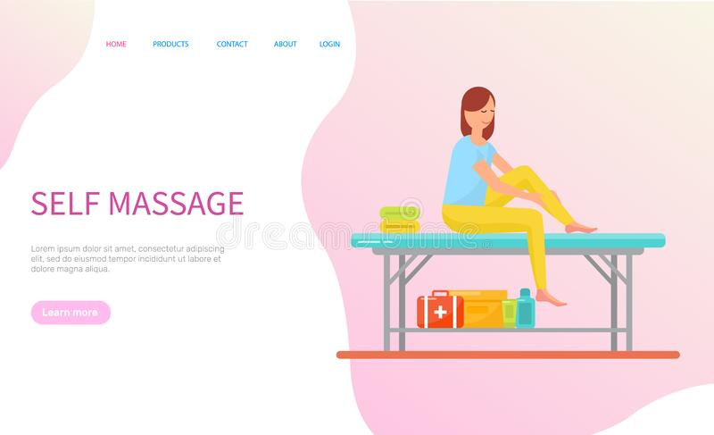 Woman Making Self Massage Sitting on Table Vector vector illustration