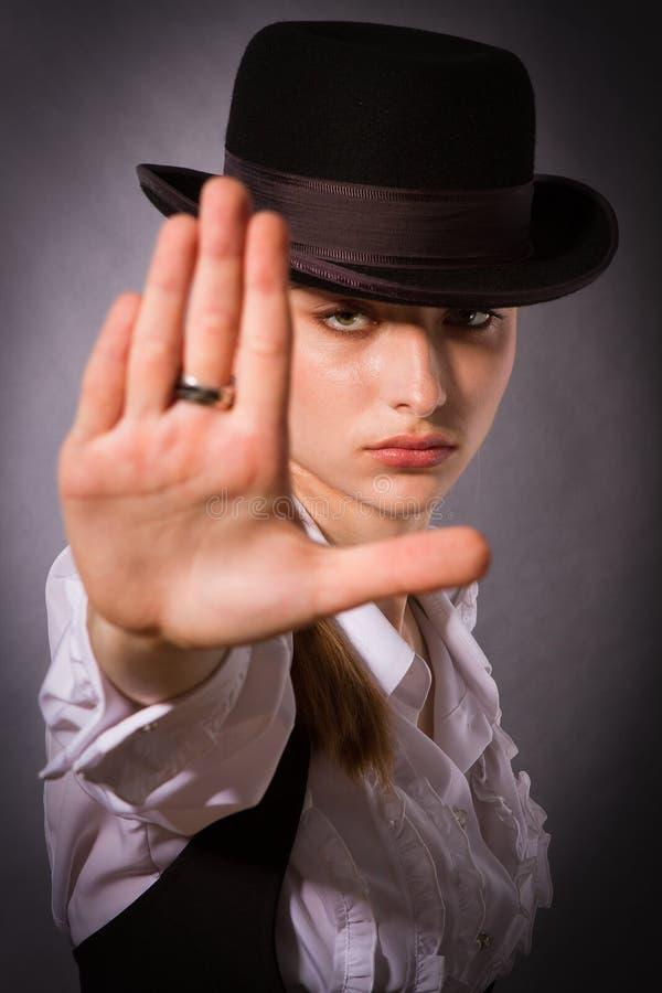 Woman making stop gesture. stock image