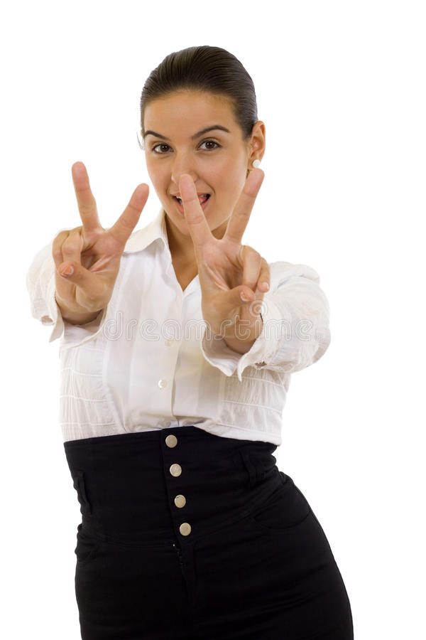 Woman making the victory sign stock photography