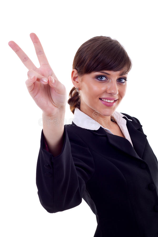 Download Woman Making The Victory Sign Stock Image - Image: 15590215