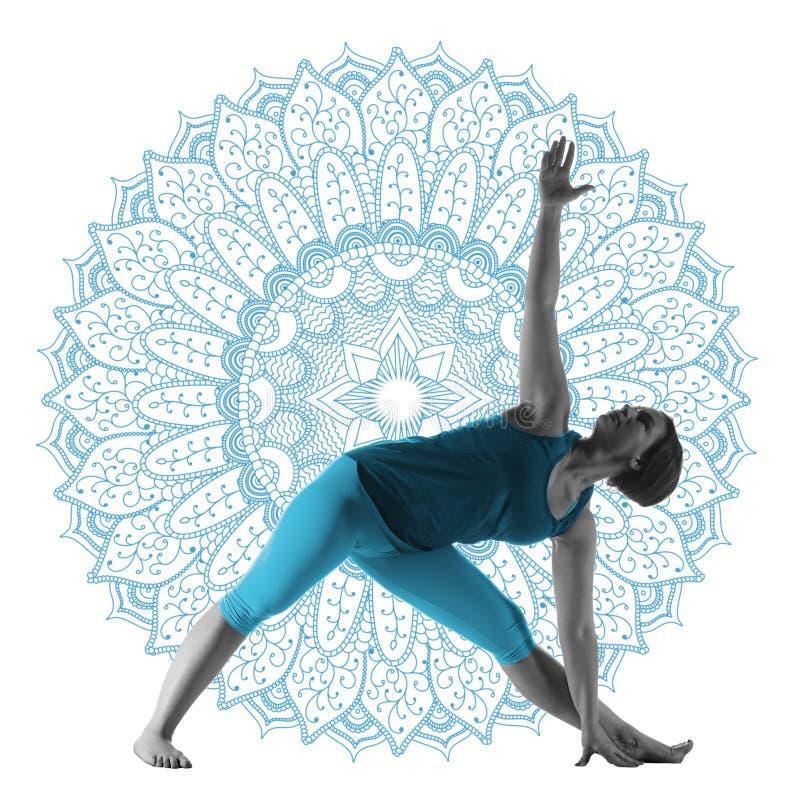 Woman making yoga exercise stock photos