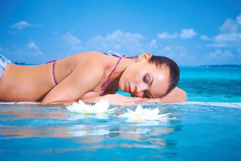 Woman at Maldives royalty free stock photo