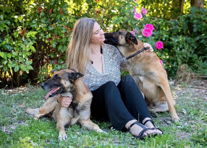 Woman and malinois royalty free stock photo
