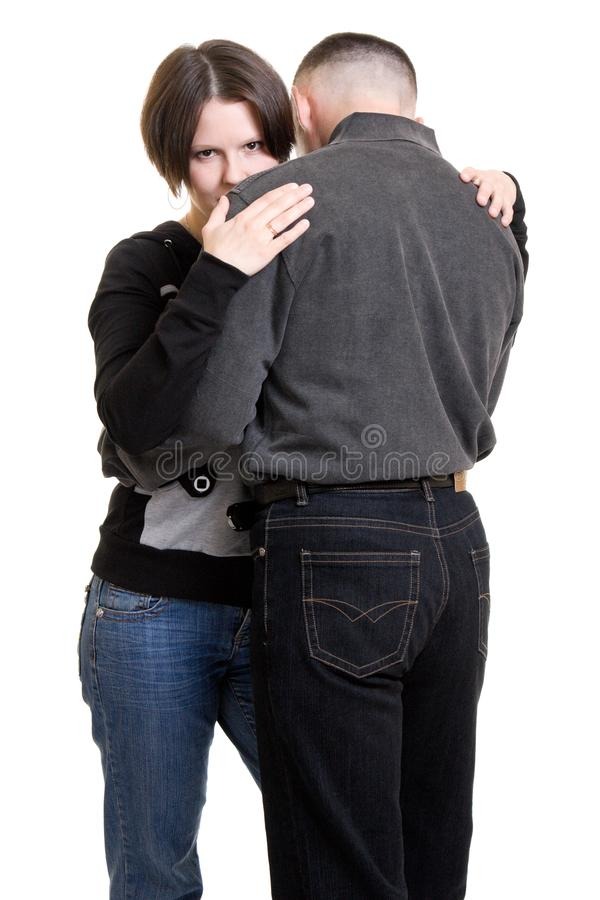A woman and a man stock image