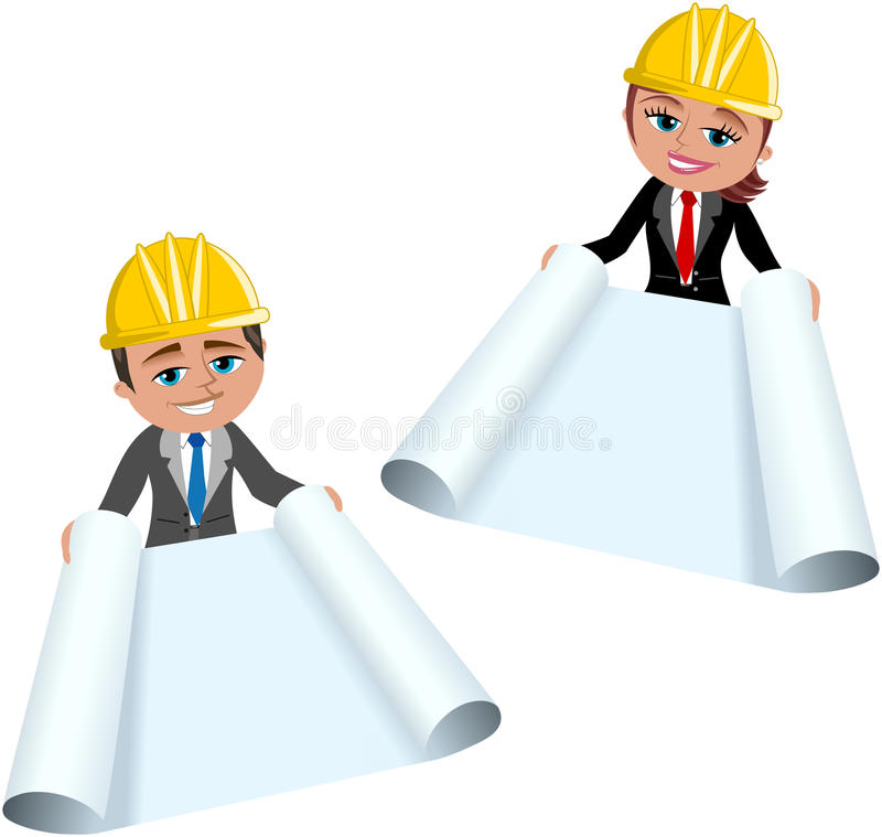 Woman and Man Architect Showing Blueprint royalty free illustration