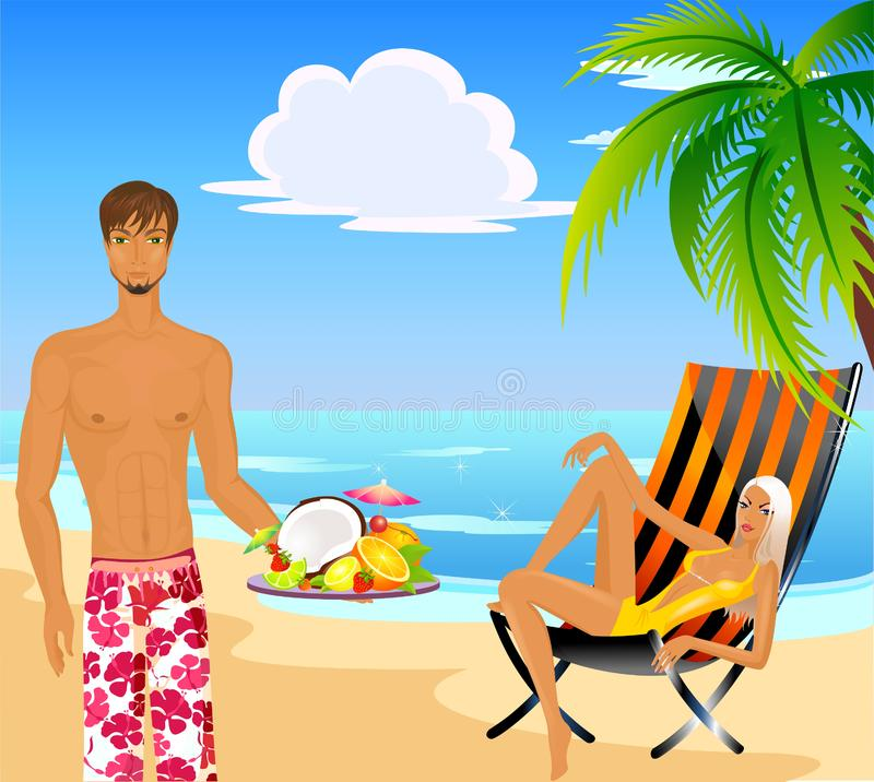 Woman and man on a beach royalty free stock photography