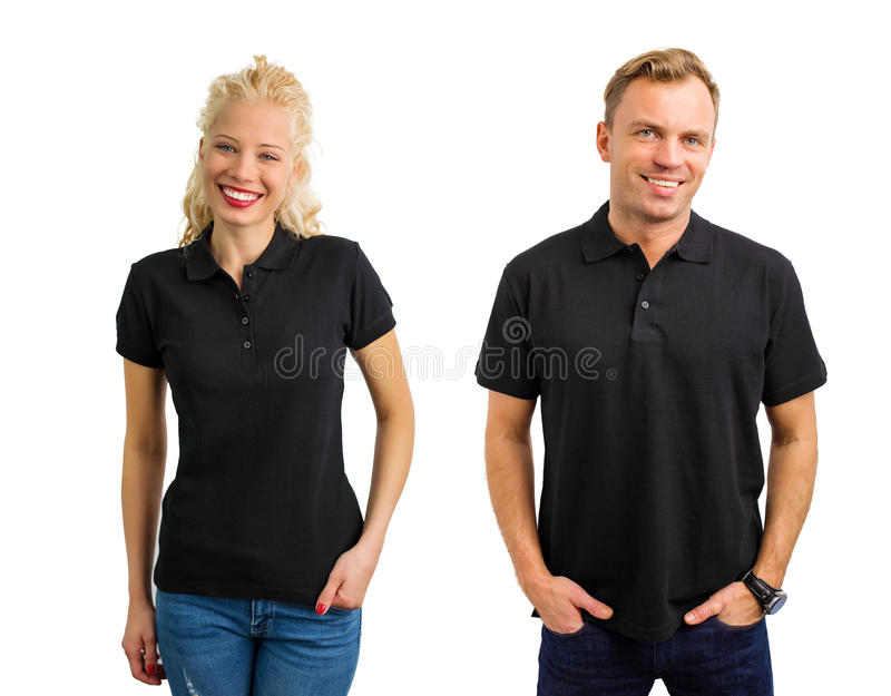 Woman and man in black polo shirts. Woman and men in black polo shirts collage royalty free stock photos