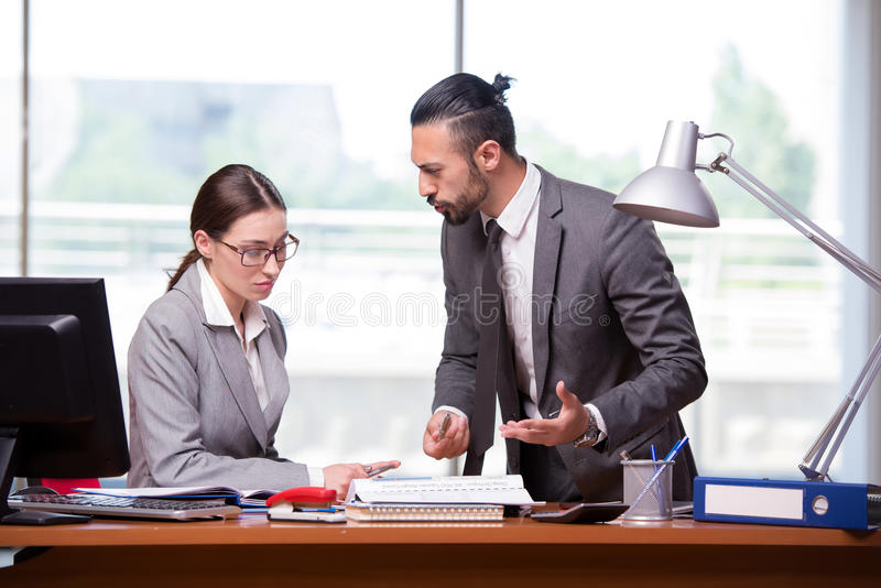 The woman and man in the business concept royalty free stock image