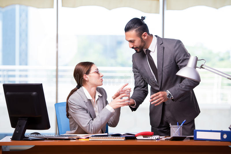 The woman and man in the business concept royalty free stock photos