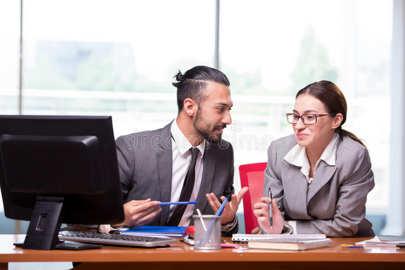 The woman and man in the business concept royalty free stock images