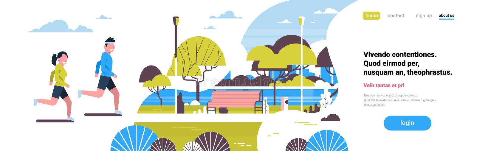 Woman man couple running city park green lawn trees river wooden bench landscape background copy space flat banner. Vector illustration stock illustration