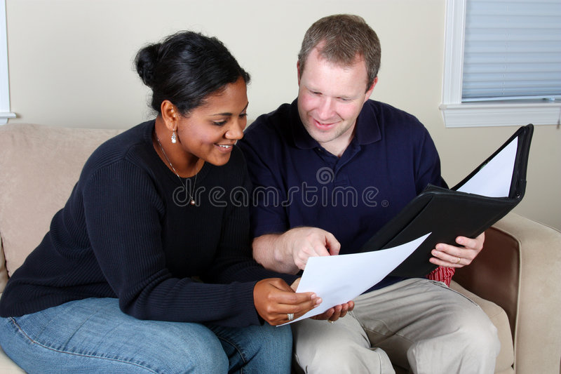 Woman And Man Doing Business stock photos