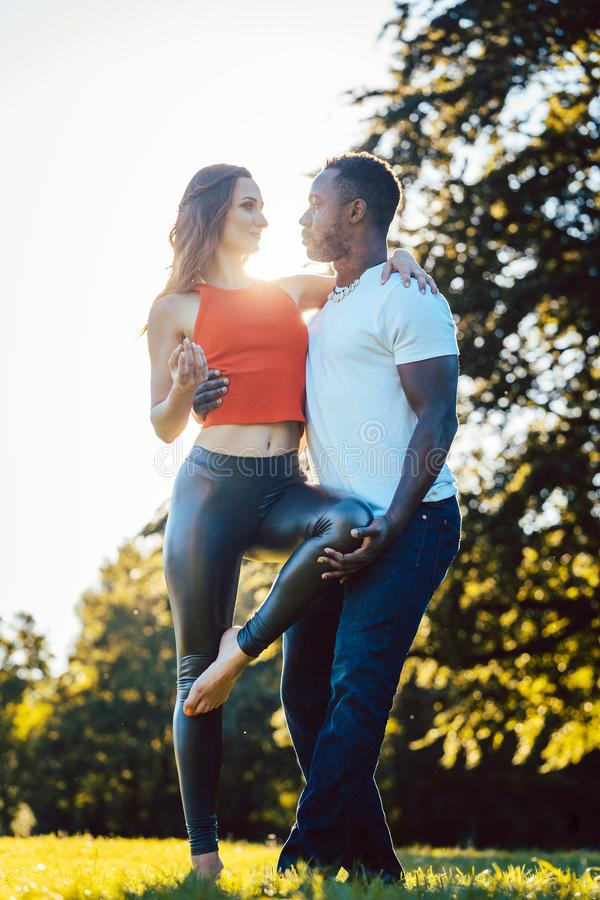 Woman and man expressing themselves through the art of dance royalty free stock images