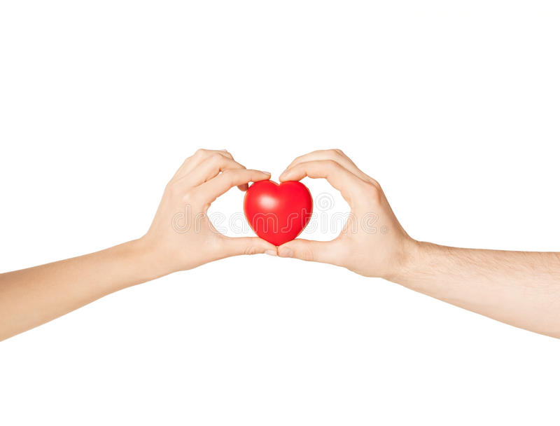 Download Woman And Man Hands With Heart Stock Photo - Image: 32103458