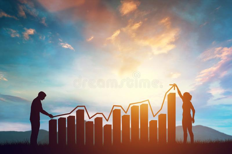 Woman and man holding a rising arrow symbolizing growth on the chart. Sunset mountains background. Concept of teamwork. 3d illustration royalty free stock photography
