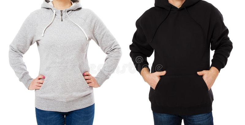 Woman And Man In Hoodie Mock Up Isolated On White Background Copy