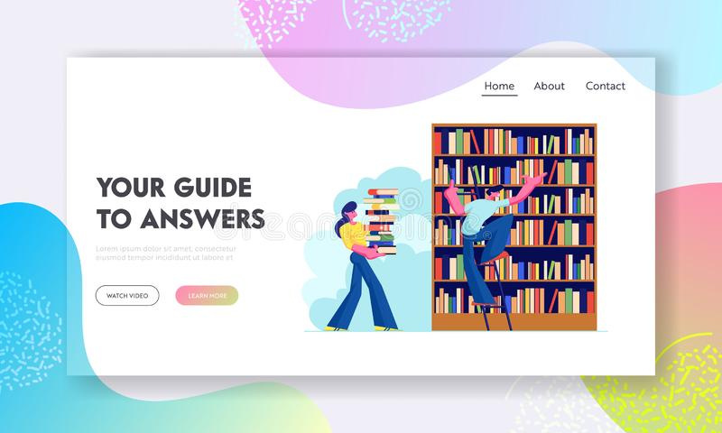Woman and Man in Library Reading and Searching Books. Young People, Students, Spend Time in Athenaeum or Literature Archive. Website Landing Page, Web Page royalty free illustration