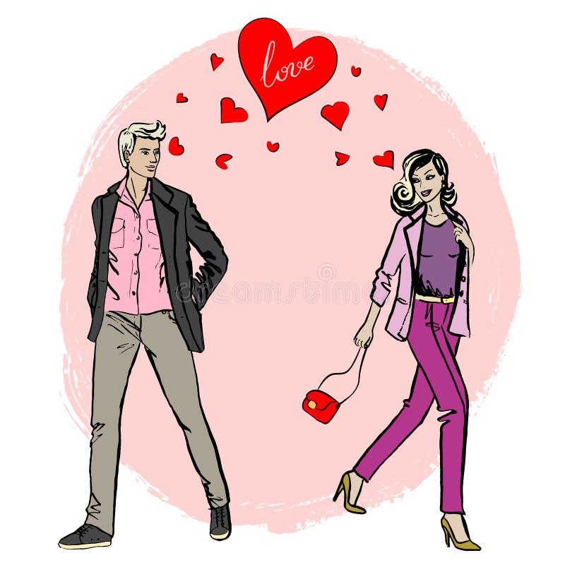 Love Each Other Cartoon: Woman And Man Meet Each Other Stock Vector