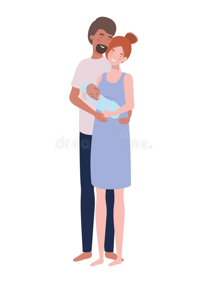 Woman and man with newborn baby royalty free illustration