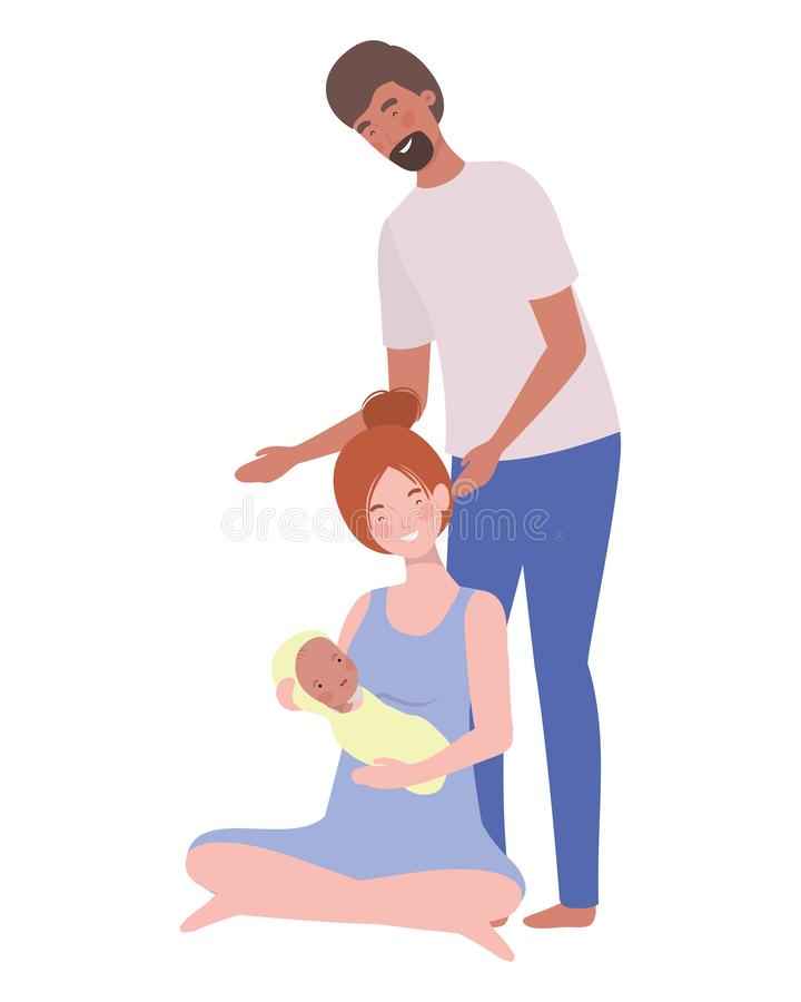 Woman and man with newborn baby stock illustration