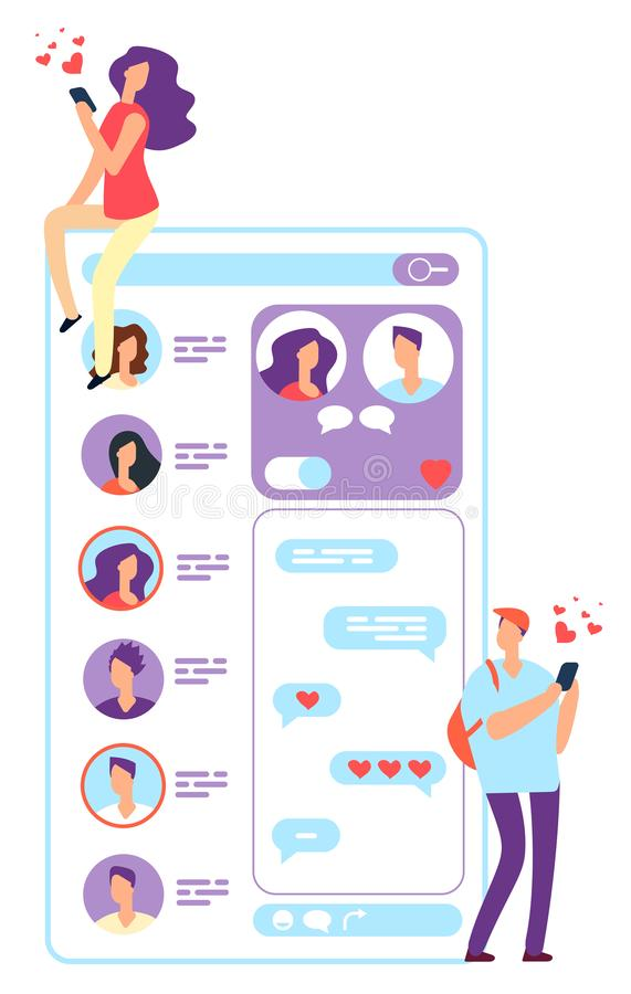 Woman and man online dating. Couple chatting with phone or website application. Romantic meeting and love relationships. Vector concept. Couple love stock illustration