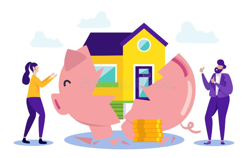 Happy People Buy House in Installments. Vector royalty free illustration