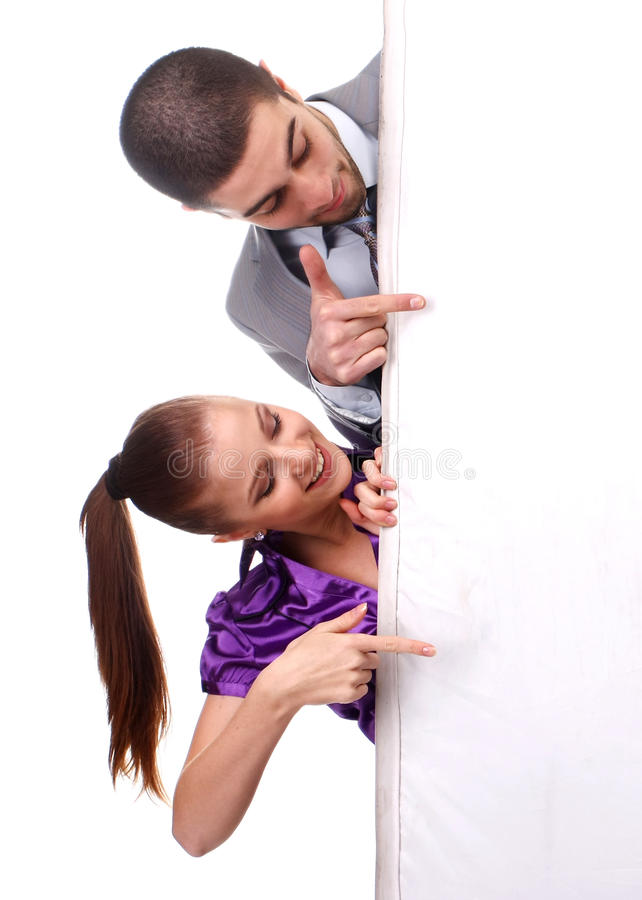 Download Woman and man with poster stock photo. Image of business - 13528996